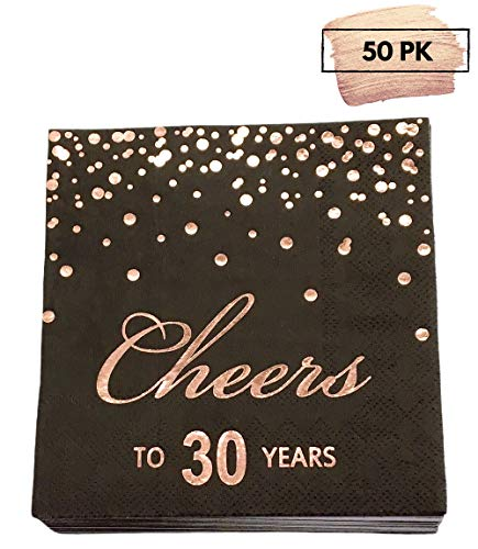Themes For 30th Birthday (Rose Gold Foil Cocktail Napkins with Cheer 30 Years | Folded 5 x 5 Inches Disposable Party Napkins | 3-Ply Paper Beverage Napkins for 30th Birthday Decorations, Wedding Anniversary, Retirement,)
