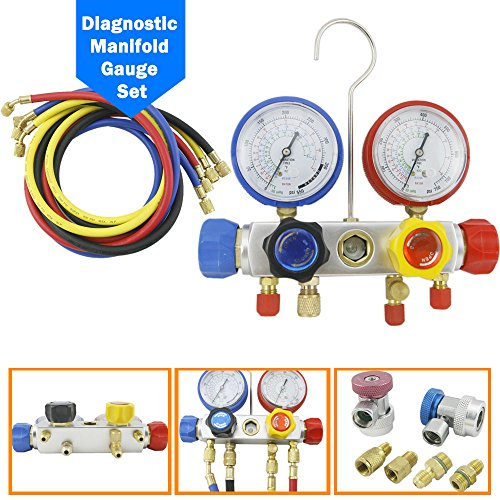 Price comparison product image 4 Way Ac Manifold Gauge Set R134a R134 R410a R404a R22 W / hoses Coupler Adapters