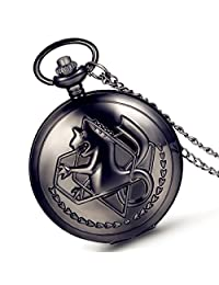 Lancardo Cool Sea Horse Dragon Emboss Cover Pentacle Gobousei White Dial Plate Pocket Fob Watch Withchain