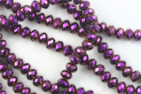 Chinese Crystal Glass Beads Faceted Rondelle 8mm Magenta Metal AB [18 inch strand] (3651)