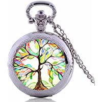 Vintage Colorful Painting Tree Of Life Pocket Watch-Silver Plated Pendant Necklace-Handmade Pocket Watch Necklace Jewelry For Women Men Kids Gifts