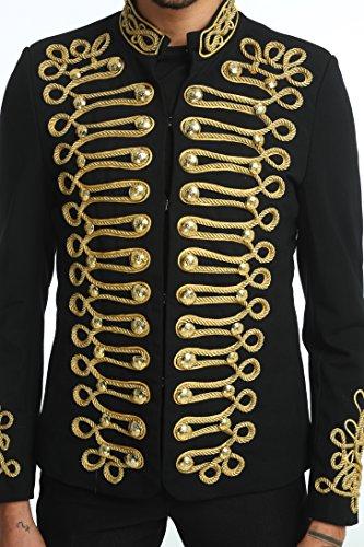 Pizoff Men's Luxury Gold Slim Fit Stylish Suit Blazer Jacket Long Sleeve Formal Dress AD001-03-S by Pizoff (Image #5)