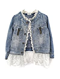 Metee Dresses Girls Jacket Denim Jean Lace Outerwear Overcoat Cowboy Coat Collarless