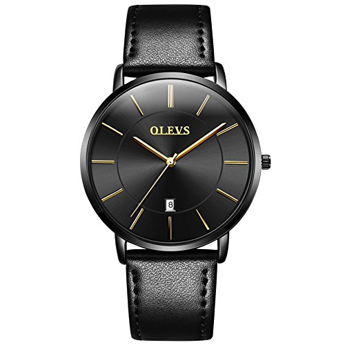Mens Ultra Thin Minimalist Watches on Sale, Business Casual Wrist Watch with Tan Black Brown Cowhide Leather Strap Band Watches, Date Water Resistance Watch, 2019 OLEVS Brand Valentines Gifts for His
