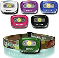 BLITZU Head Flashlight Headlamp, 165 Lumen Headlight with Bright White Cree Led + Red Light for Kids, Men, Women, Runners. Batteries Included for Running, Camping, Waterproof Adjustable Lamp Headband
