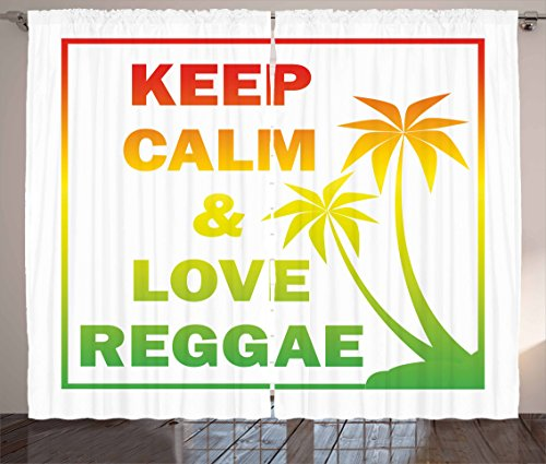 """Ambesonne Rasta Curtains, Keep Calm and Love Reggae Words in Ombre Rainbow Colors Music Themed, Living Room Bedroom Window Drapes 2 Panel Set, 108"""" X 84"""", Green Yellow"""