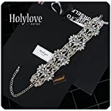 Holylove Statement Necklace for Women Short Chunky Choker Collar Jewelry Shiny Crystal Flower Silver Chain Wedding Party Daily Fashion Accessory 1pc Crystal with Gift Box - N15 Crystal
