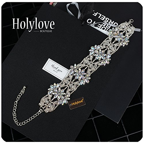 Holylove Statement Necklace for Women Short Chunky Choker Collar Jewelry Shiny Crystal Flower Silver Chain Wedding Party Daily Fashion Accessory 1pc Crystal with Gift Box - N15 Crystal by Holylove