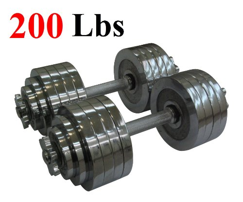 200 X Metal - One Pair of Adjustable Dumbbells Chrome Plated Metal Total 200 Lbs (2 X 100 Lbs)