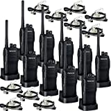 Retevis RT21 Walkie Talkies UHF 400-480MHz 16 CH VOX Scrambler Squelch Security Two Way Radio(10 Pack)and 2 Pin Covert Air Acoustic Earpiece(10 Pack)
