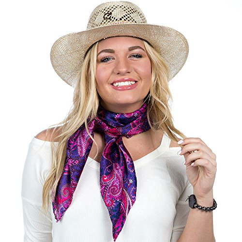 (Wyoming Traders Womens Ladies Paisley Pomegranate/Royal Red Wild Rag 34 Inch Square Purple Pink Mauve Lavendar Lilac)