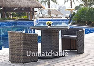 3pc rattan foldaway garden furniture set in 2 colours includes 2 foldaway chairs glass table black