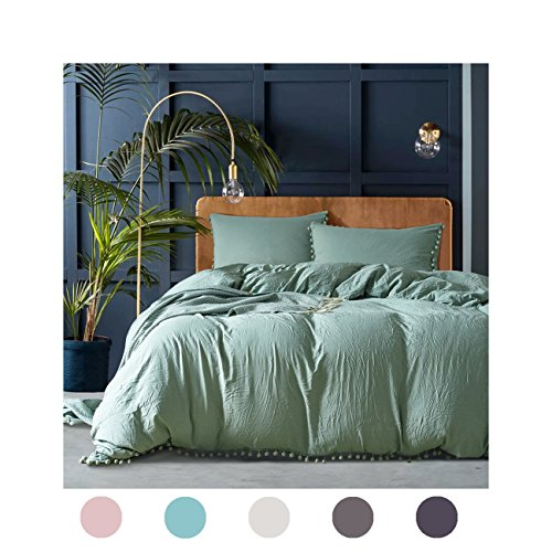 Moreover 3 Pieces Dark Green Bedding Green Duvet Cover Set Ball Fringe Pattern Design Soft Solid Dark Sea Green Bedding Sets Queen One Duvet Cover Two Ball Fringe Pillow Shams (Queen, Dark Sea Green)