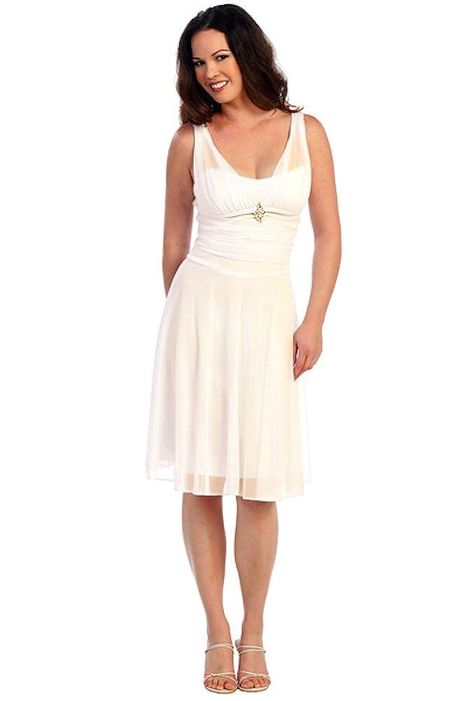 Nachtigall+Lerche Cocktailkleid Brautkleid kurz Standesamtkleid Sommerkleid Party-Kleid Abi-Ballkleid für Hochzeit Knielang Chiffon