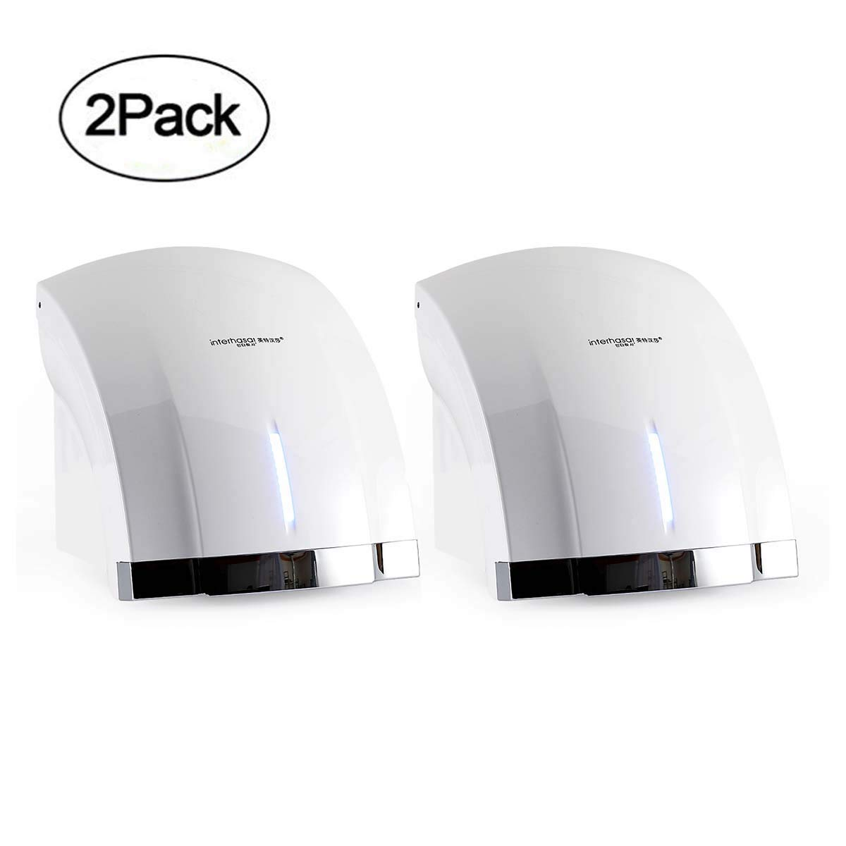 Interhasa! Premium Quality High Speed 1800W Automatic Electric Commercial Hand Dryer (2 pack-110V) color:white by interhasa!