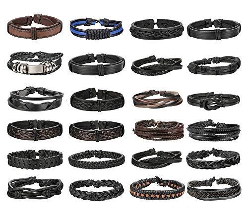 FIBO STEEL 24 Pcs Braided Leather Bracelets for Men Women Cuff Bracelet,Adjustable from FIBO STEEL