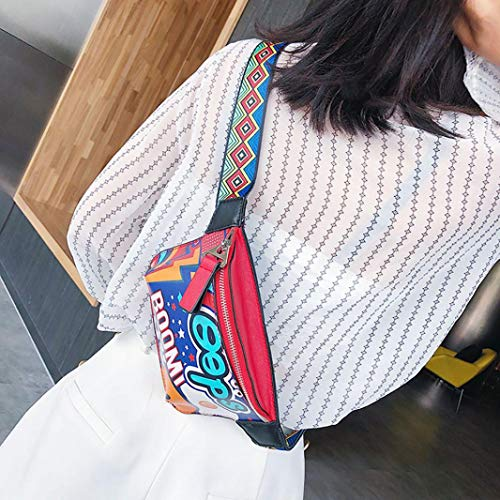strap bag bag printed Women Red shoulder EUzeo chest Messenger wide shoulder graffiti xqU7aFO