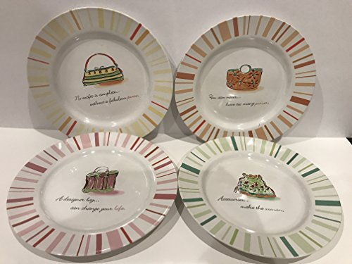 Rosanna Accessories Make The Woman Fall Handbags Set of 4 Salad Snack Dessert Plates