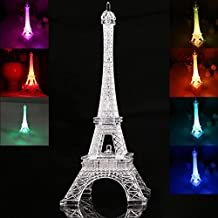 Totoo LED Light Up Eiffel Tower, Built-in Color Changing Night Light, Battery Included Desk Lamp Centerpiece Cake Topper Decoration Gift (25CM)