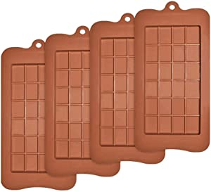 Silicone Break-Apart Chocolate, Food Grade Non-Stick Protein and Energy Bar Mold (Chocolate Bar Mold Set of 4)