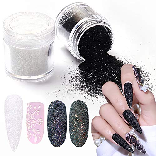 Laza Nail Glitter Powder Shining Sugar Effect Glitter Black White Dust Sand Powder Candy Coat Manicure Nail Art Decoration for Nail Art Tips Decoration, DIY Crafts