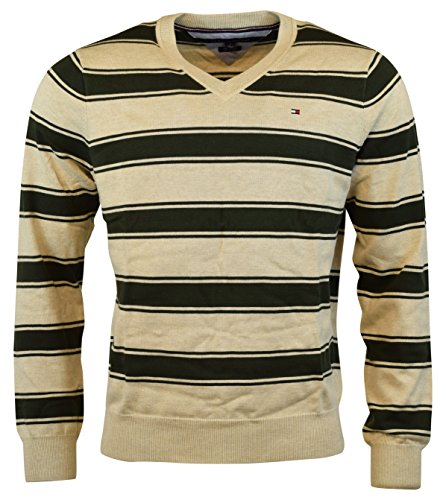 Tommy Hilfiger Mens V-Neck Pima Cotton Striped Sweater - XL - Taupe - Cotton Sweater Striped