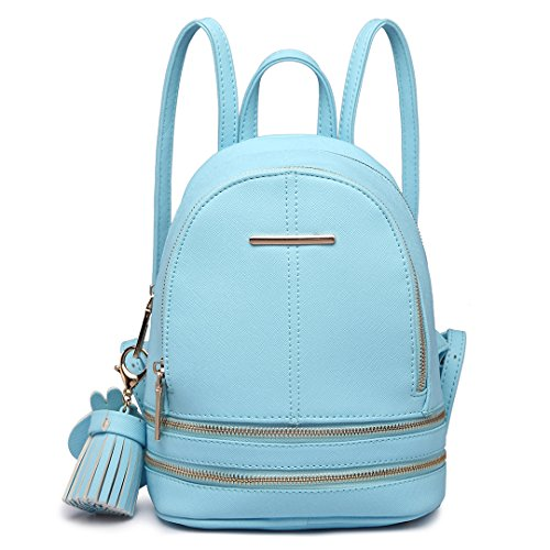 Miss Lulu - Bolso mochila para mujer Mochila de cuero de PU Una mochila hermosa (1763 Rosa) 1705 Azul