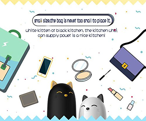 EMIE Kitten 10000mAh Portable Charger ,5V 2.1A Cartoon Cute Cat Fast Charging Power Bank USB Battery Pack External Battery for iPhone 7 Plus 6 6S Plus 5S Sumsung iPad and more