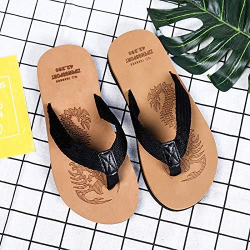 Shukun Tongs Hommes Pantoufles Hommes été Personnages Hommes Vêtements de Mode Décontracté Sandales de Plage et Pantoufles Sandales de personnalité A3 marron
