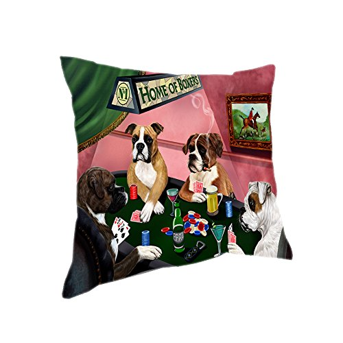 Home of 4 Boxers Dogs Playing Poker Pillow (18x18) (Boxers Poker)