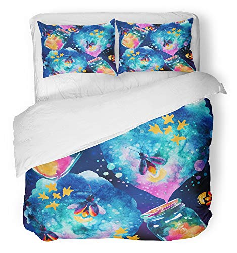 (Emvency 3 Piece Duvet Cover Set Breathable Brushed Microfiber Fabric Abstract Fairy Tale with Magic Bottle and Firefly Watercolor and Lantern Bedding Set with 2 Pillow Covers Twin)