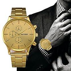 Big Promotion ! Auwer Mens Luxury Fashion Crocodile Faux Leather Analog Watch Wrist Watches (Golder)