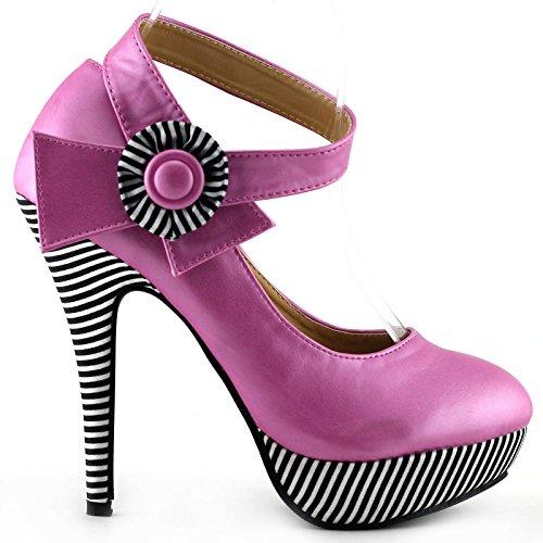 Caviglia Rosa Alla Storia Pompe Spettacolo Dallo Brillante Scarpe Della Lf30404 Cinturino Striscia Stiletto Piattaforma Sexy Fiore qwRWSpIW