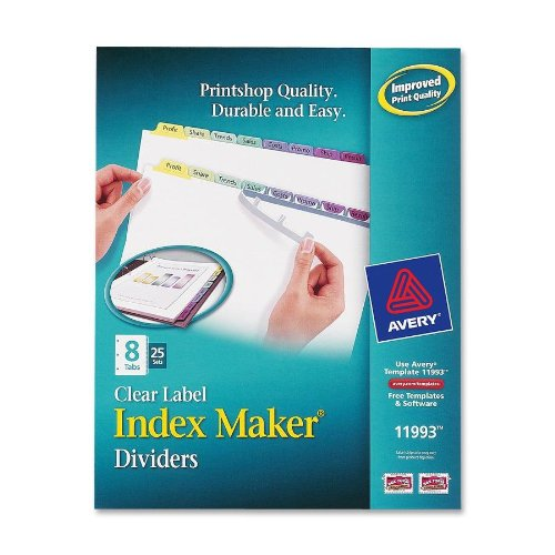 Avery - Index Maker Clear Label Contemporary Color Dividers, Eight-Tab, 25 Sets per Box - Pack of 3