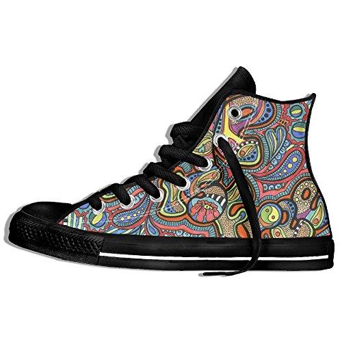 Baskets Montantes Classiques Toile Chaussures Anti-dérapant Hippie Motif De Marche Occasionnels Pour Hommes Femmes Noir