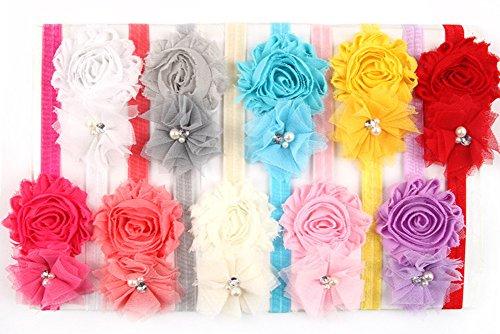 Mesh cristal Bandeaux Fleur de Qandsweet Baby Girl (du paquet de 10)
