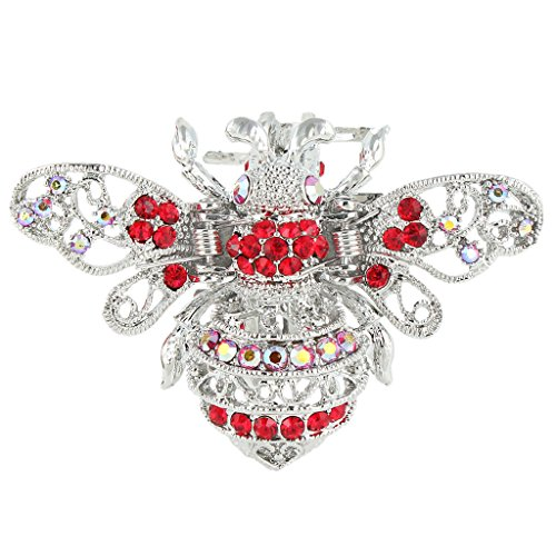 EVER FAITH Silver-Tone Austrian Crystal Honey Bee Insect Hair Claw Clip Red