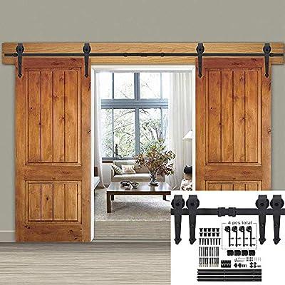 Smartxchoice puerta corredera de granero de doble puerta de 12 pies con kit de herramientas – suave y silenciosamente – fácil de instalar – sistema de doble pista – resistente: Amazon.es: Bricolaje y herramientas