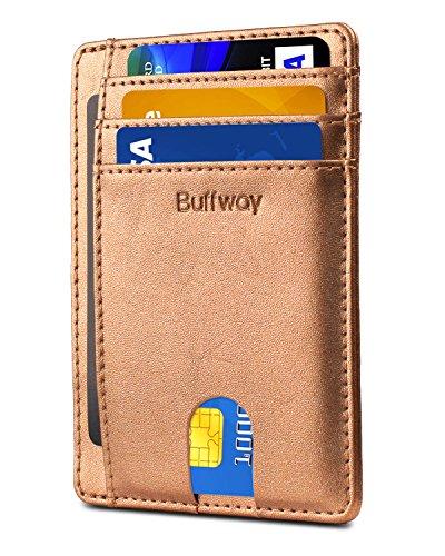 Slim Minimalist Leather Wallets for Men & Women -Sand Rose Gold