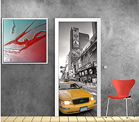Art déco Stickers – Papel pintado puerta Déco – Taxi New York – 569 – 83 x 204 cm: Amazon.es: Hogar