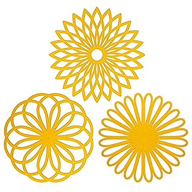 ME.FAN™ Silicone Multi-Use Flower Trivet Mat(set of 3 Pack) Premium Quality Insulated Flexible Durable Non Slip Coasters Cup Yellow