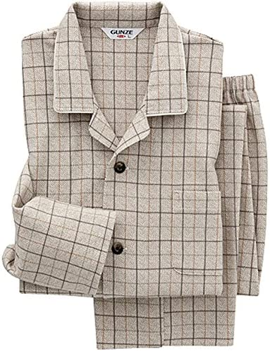 パジャマ 日本製・京都捺染 長袖長パンツ クワトロスムース両面起毛 SG4316 メンズ