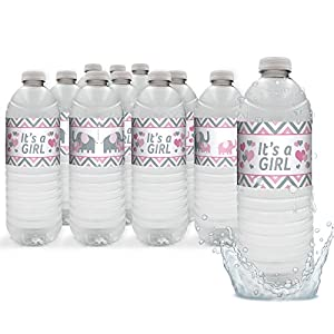 Pink and Gray Elephant Baby Girl Shower Water Bottle Sticker Labels (Set of 24)