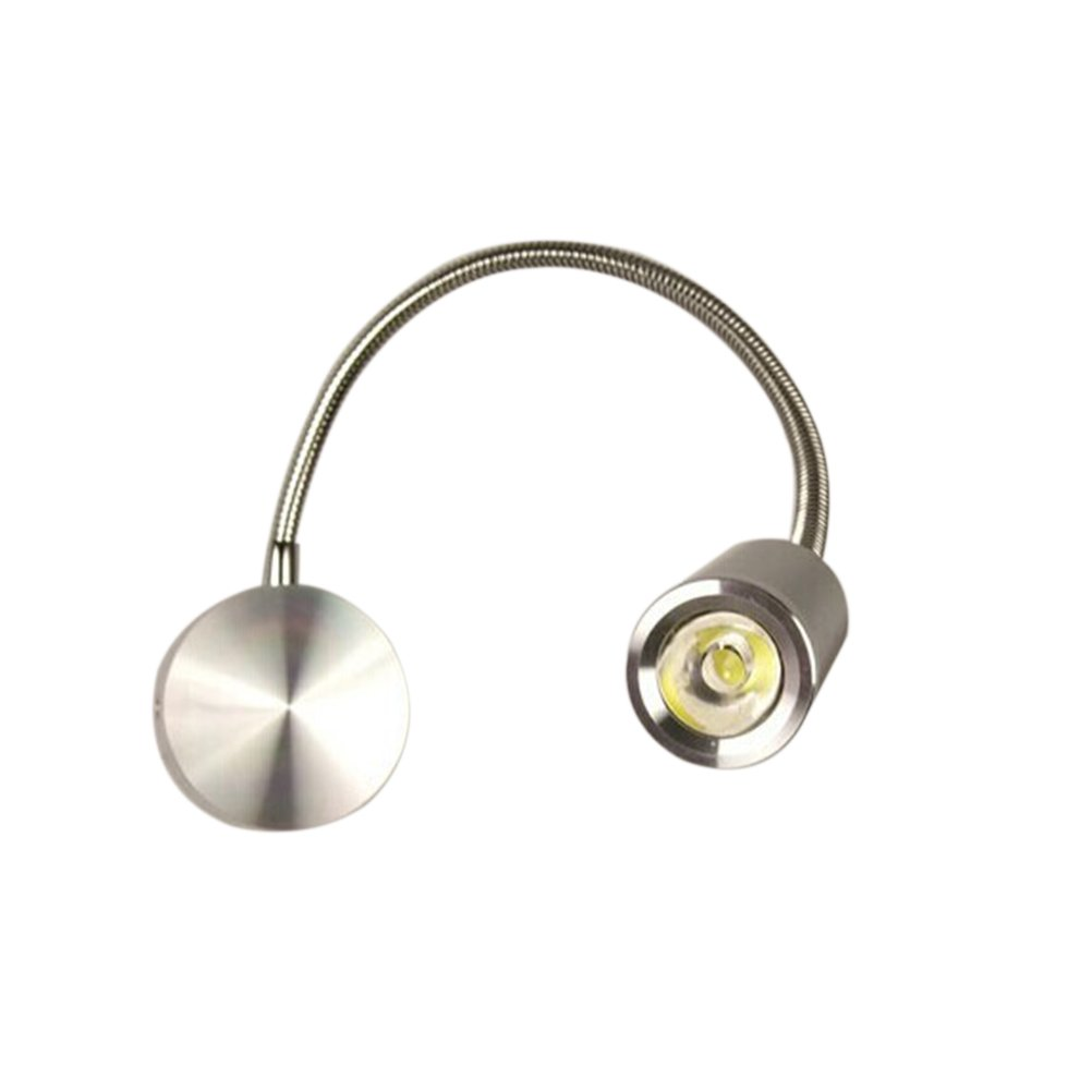 VORCOOL LED Reading Light AC 85-265V 3W 360-degree LED Wall Light Gooseneck Light Bedside Lamp (White)