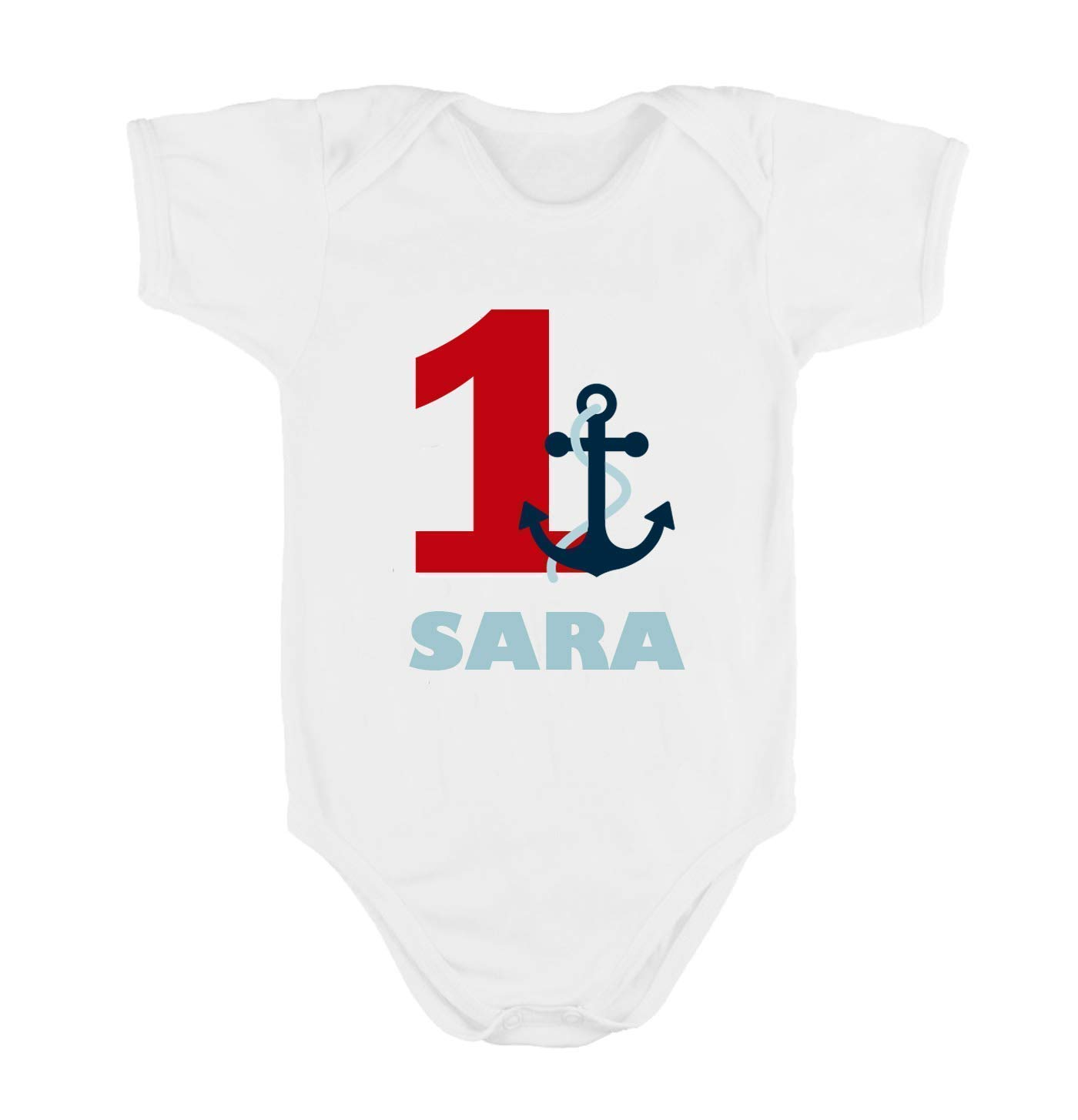 Body o Camiseta Primer / 1er Cumpleañ os 1 añ o Marinero para Bebes Niñ as Personalizado con el Nombre