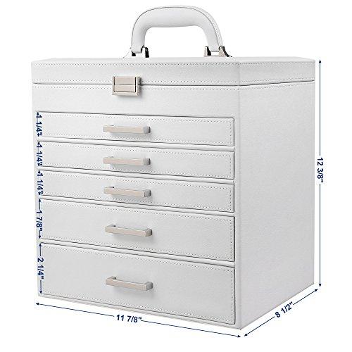 SONGMICS 6 Layers Jewelry Organizer Extra Large Box Mirrored Storage