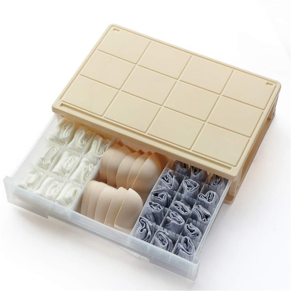 Amazon.com: Zhao Xiemao Closet Underwear Organizer Drawer Divider Plastic Floor Storage Drawer Socks Underwear Storage Box White Foldable Cloth Storage Box ...