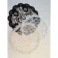 Set of 3 veils 9 in round trio cap white black ivory Lace Mantilla Small 9in-trio