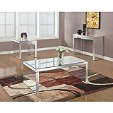 "Monarch Specialties I 3715 Coffee Table, Silver, 48"" X 24"""