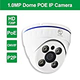 JOOAN 737KRC-T-P 1.0 Megapixel HD 720P POE Camera Dome Security IP Camera Baby Monitor Dome CCTV Home Surveillance...